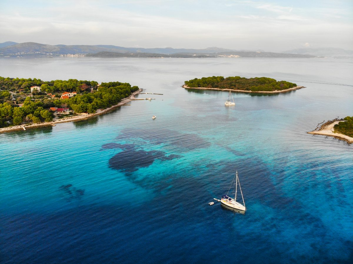 Drone view of Hvar and nearby islands
