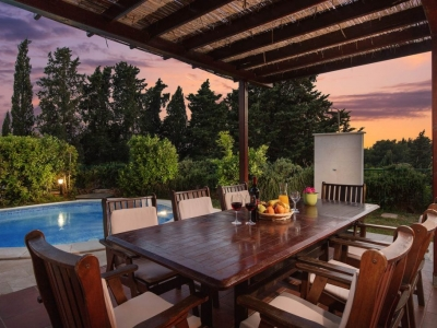 Back yard with pool and dining table