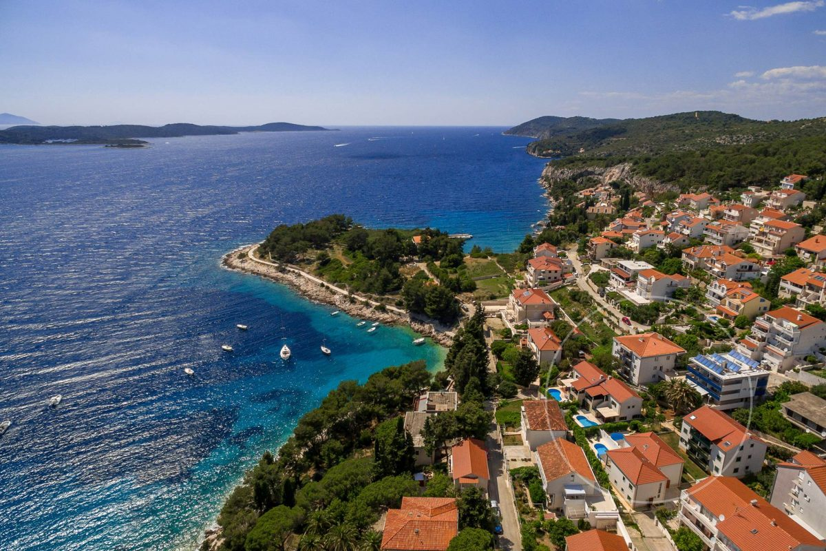 Drone view at Villa Liza and beautiful front bay in Hvar